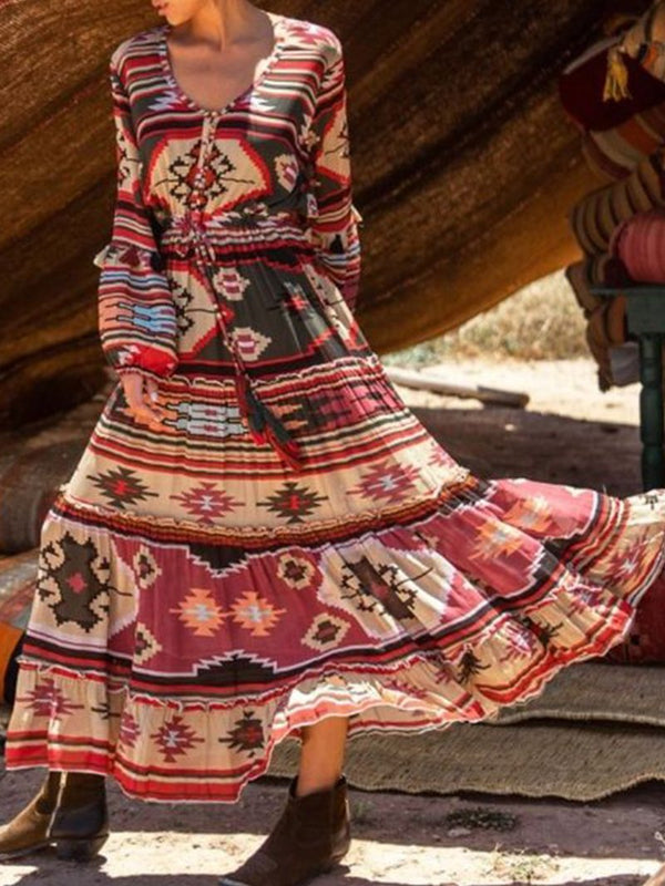 Fashion Printed Fringe Long Sleeve Dress
