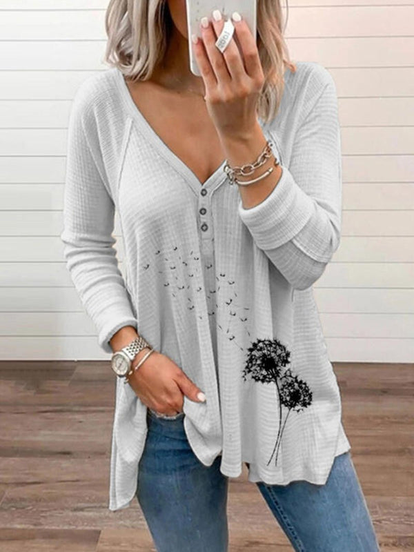 Women's Solid Color Dandelion Print Long-sleeved Tops