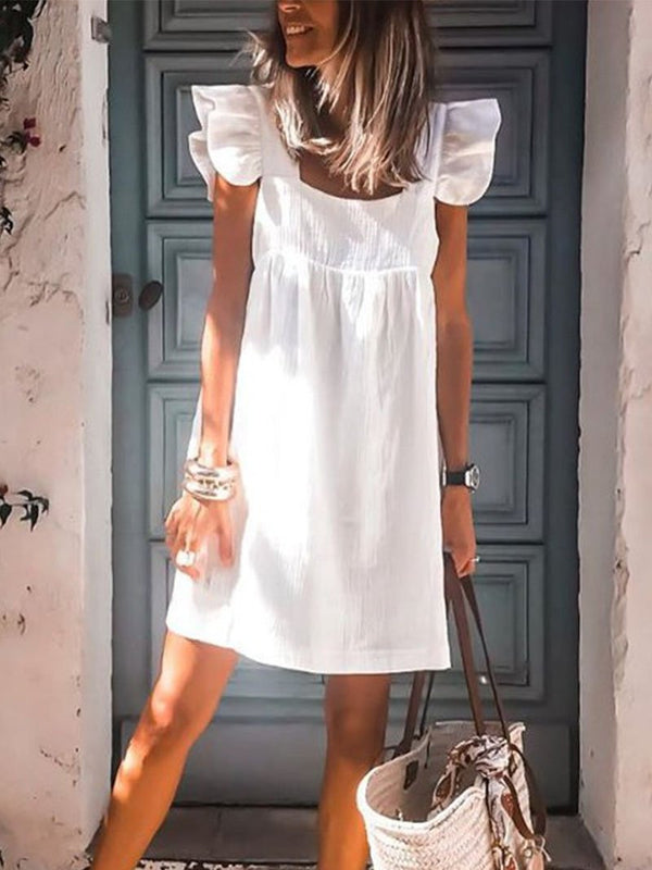 2020 Casual Solid Short Sleeve Square Collar Dress
