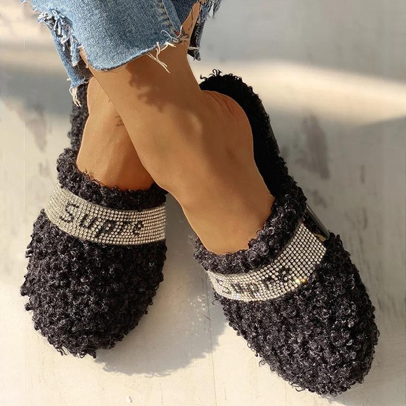 Woolen Slippers with Rhinestone Lettering and Decorations