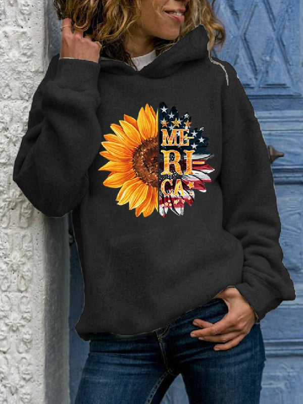 Women's Plus Size Sunflower Letters Printed Hooded Sweatshirt
