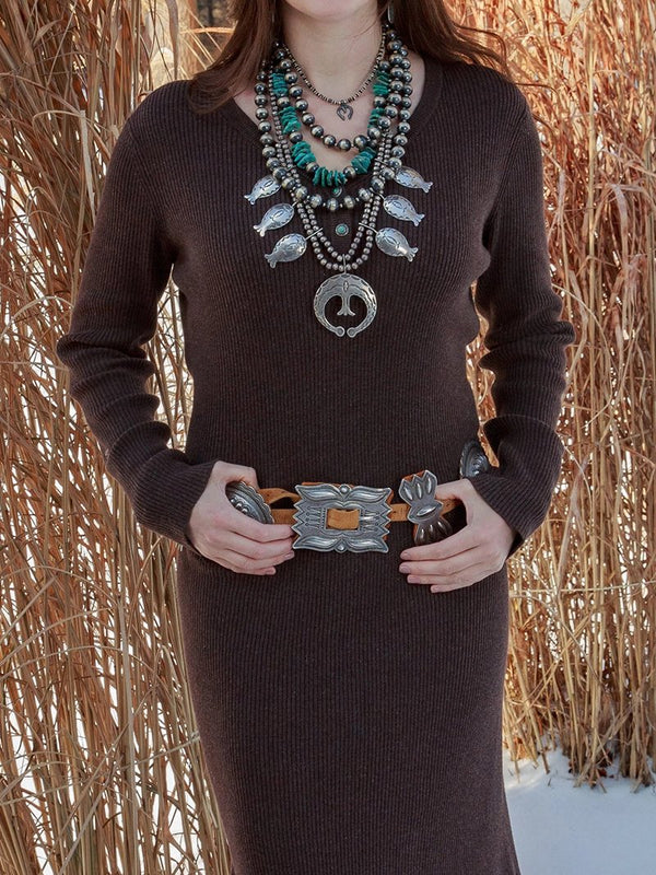 Western Vintage Solid Color Split Sweater Dress