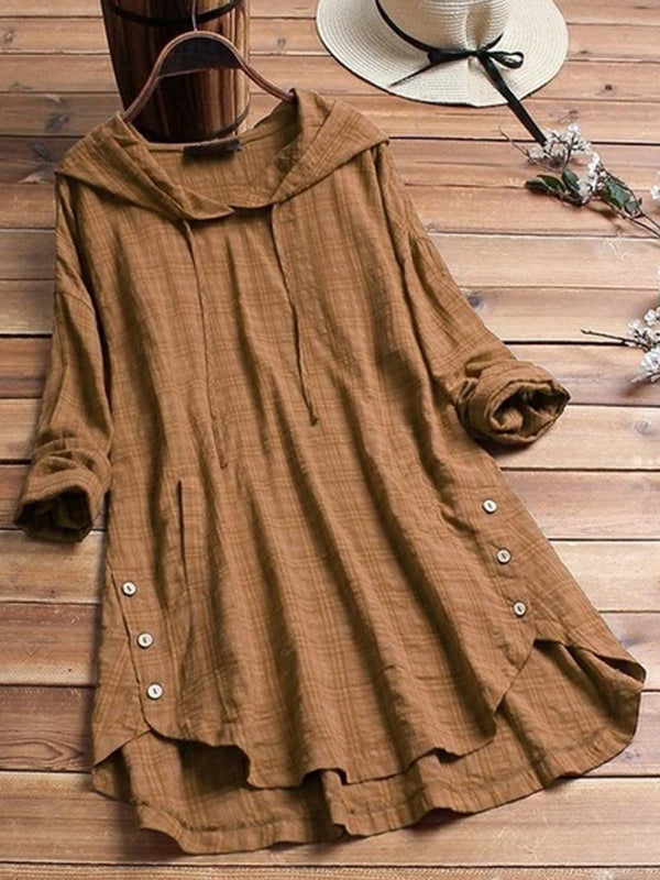 Hooded Plain Long Sleeve Button-down High-low Shirt Tops Blouse