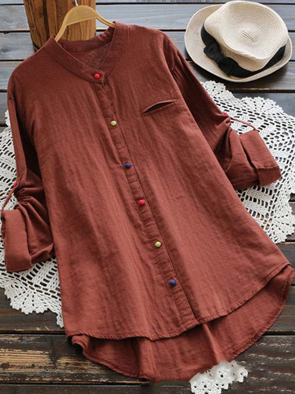 Stand Collar Colorful Buttons Long Sleeve Shirt Tops