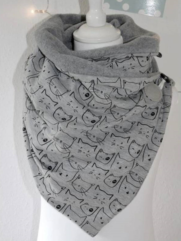 Cat Print Fashion Padded Scarf
