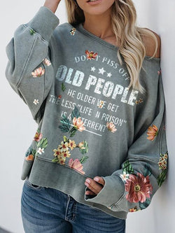 Fashion Flower Letter Print Crew Neck Sweater