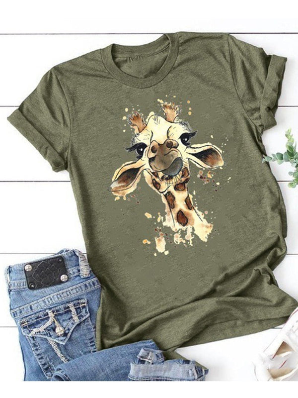 Giraffe Print Short Sleeve T-Shirt Top