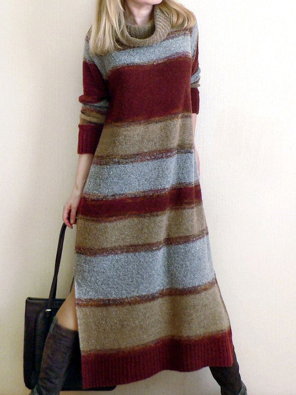 Vintage Clash Turtleneck Sweater Dress