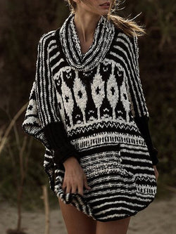 Fashion Black and White Retro Sweater
