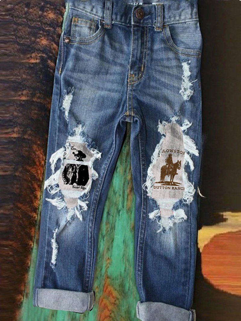 Women's jeans trousers with Western denim wind hole printing