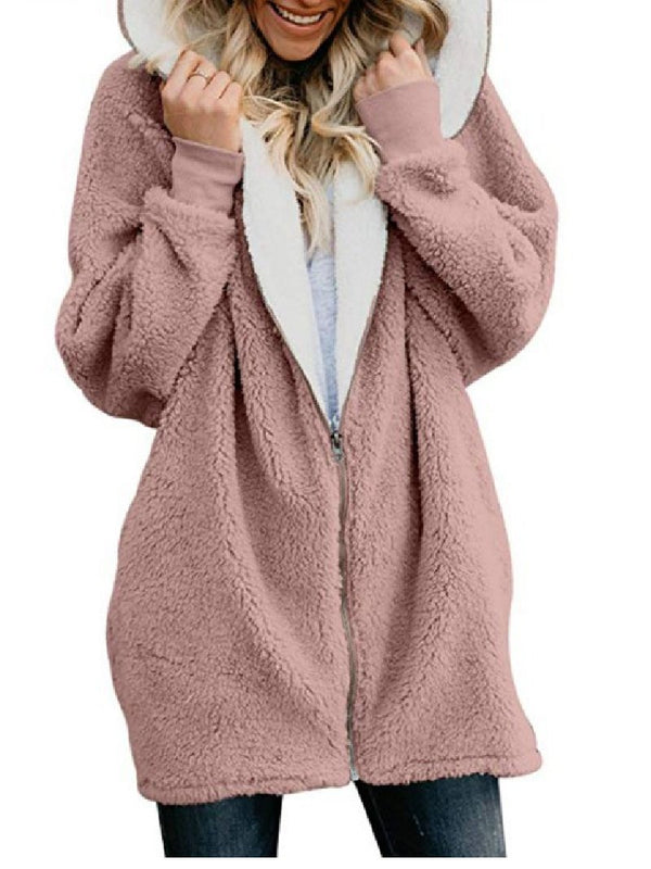 AutumnWinter Lamb Wool Zipper Warm Plush Jacket Coat