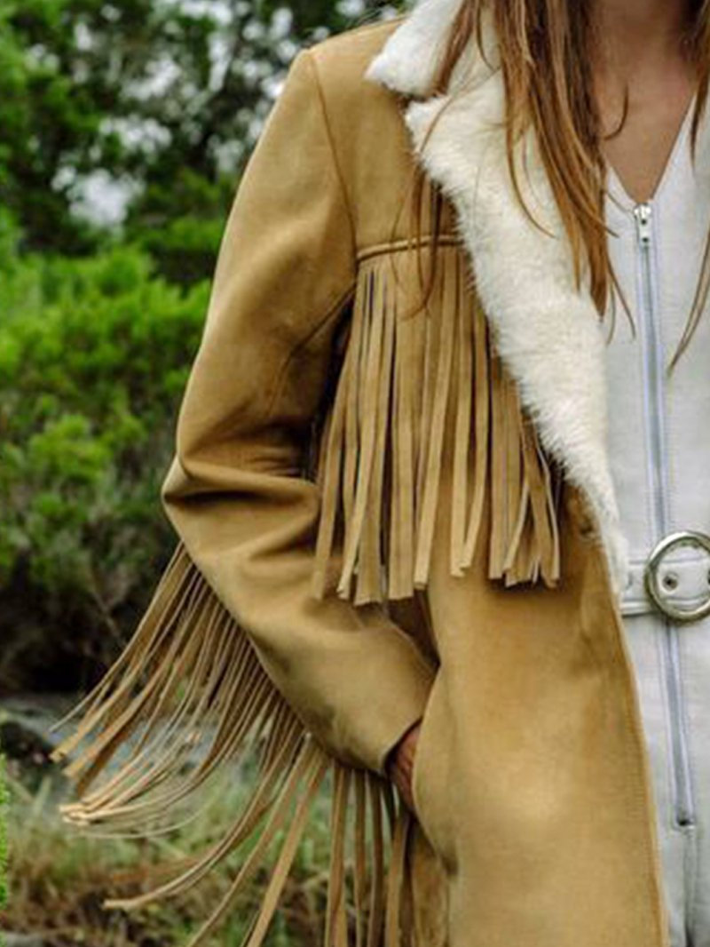 Fall and Winter Fleece Lapel Fringe Long Sleeve Coat