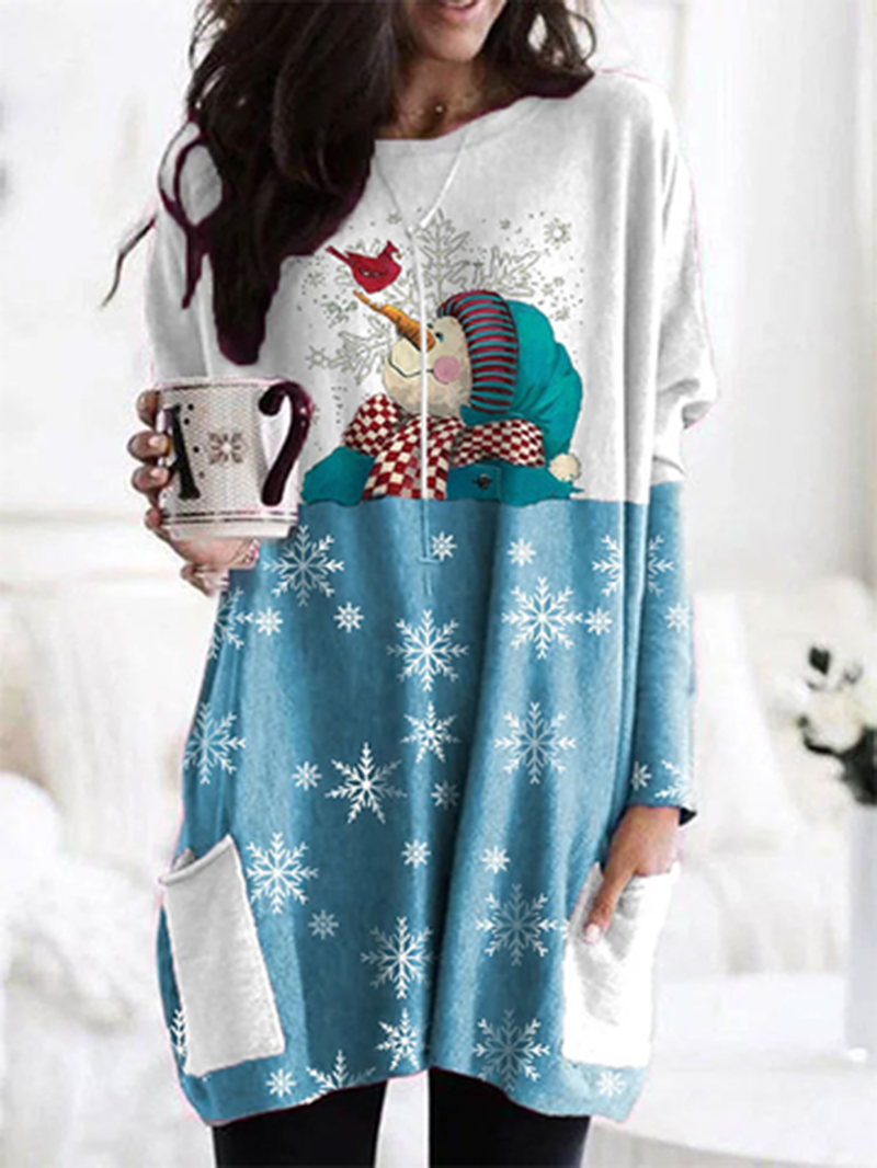 Snowman stitching long sleeve loose T-shirt