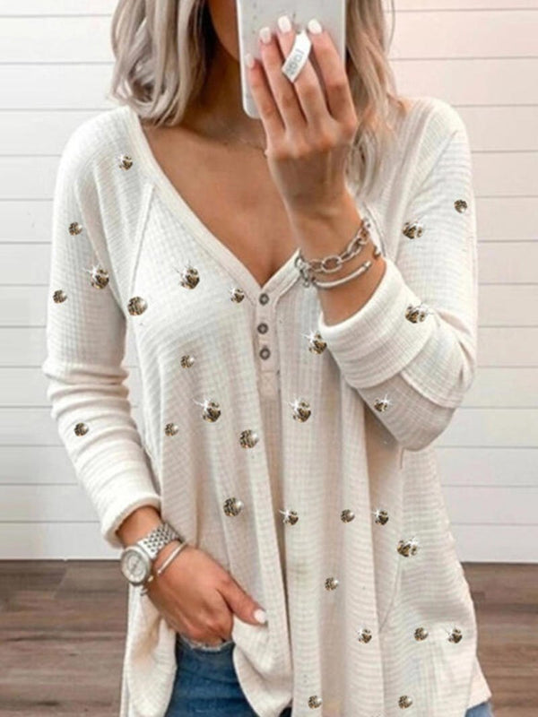 Women's Solid Color Glitter Print Long Sleeve Tops