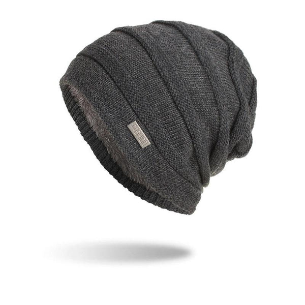 Knitted woolen cap with fleece and horizontal stripes and iron markings