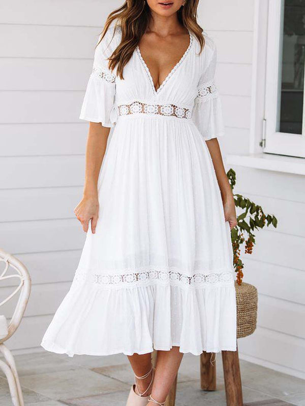 Bohemian Lace Patchwork Short Sleeve A-line Maxi Dress