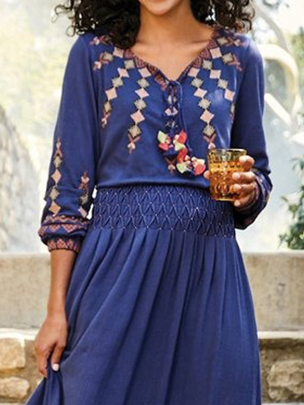 Floral Print V-neck Long Sleeve Resort Dress