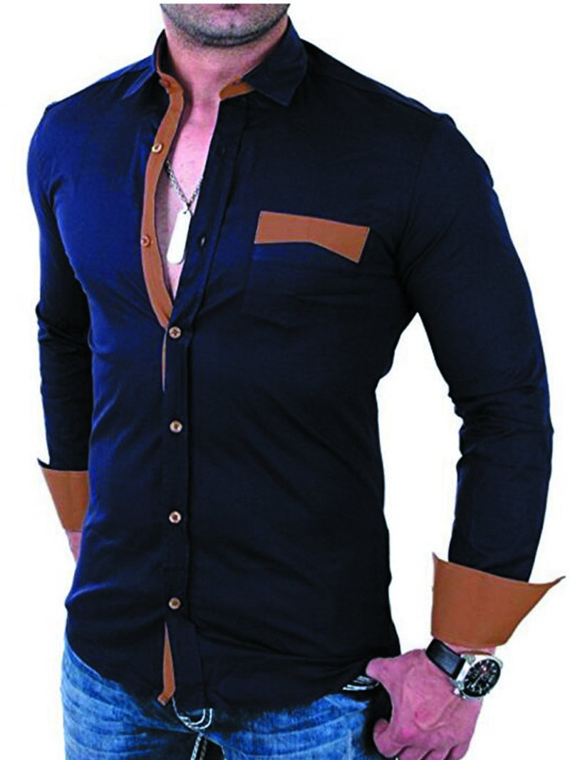 Men's Long-sleeved Shirt with Classic Patch Pockets