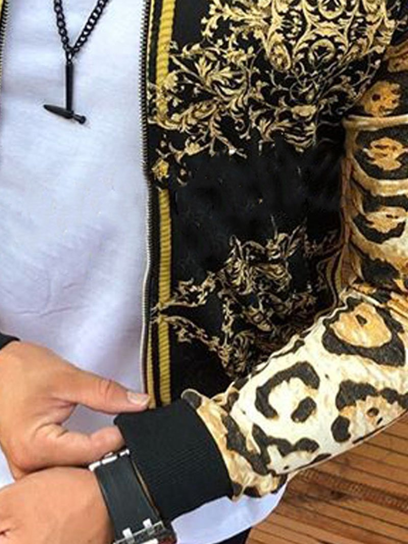 Leopard Print Crew Neck Casual Jacket