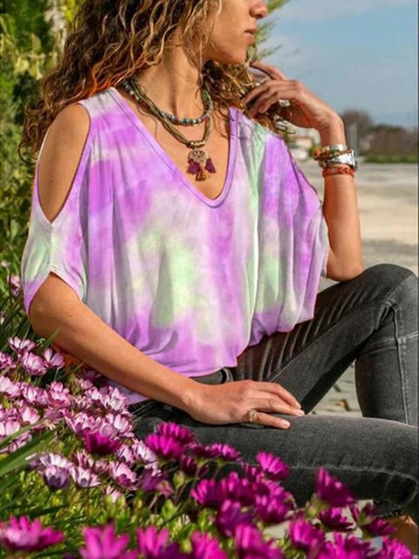 Rainbow Color Tie-dye Strapless V-neck Casual T-shirt