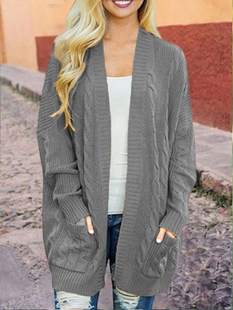 Women's Plus Size Knitted Cardigan Mid-length Sweater