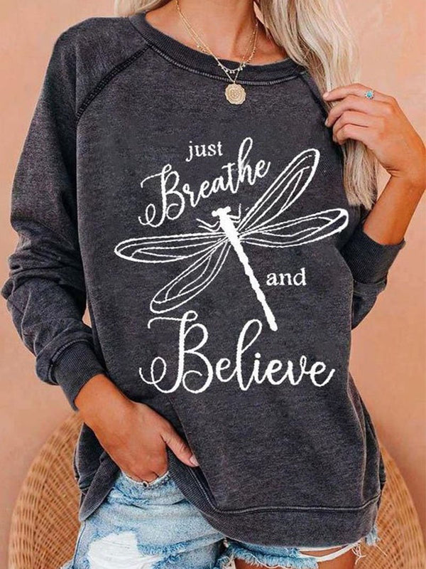 Dragonfly Letter Print Long Sleeve Sweatshirt Tops