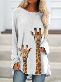 Giraffe Printed Round Neck Casual Long Sleeve Top