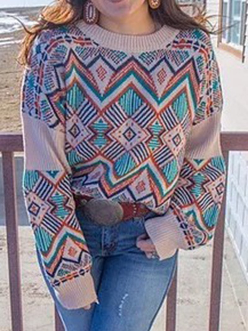 Casual Geometric Print Round Neck Loose Long Sleeve Sweater