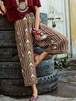 Retro Geometric Stripe Loose Trousers Wide Leg Pants
