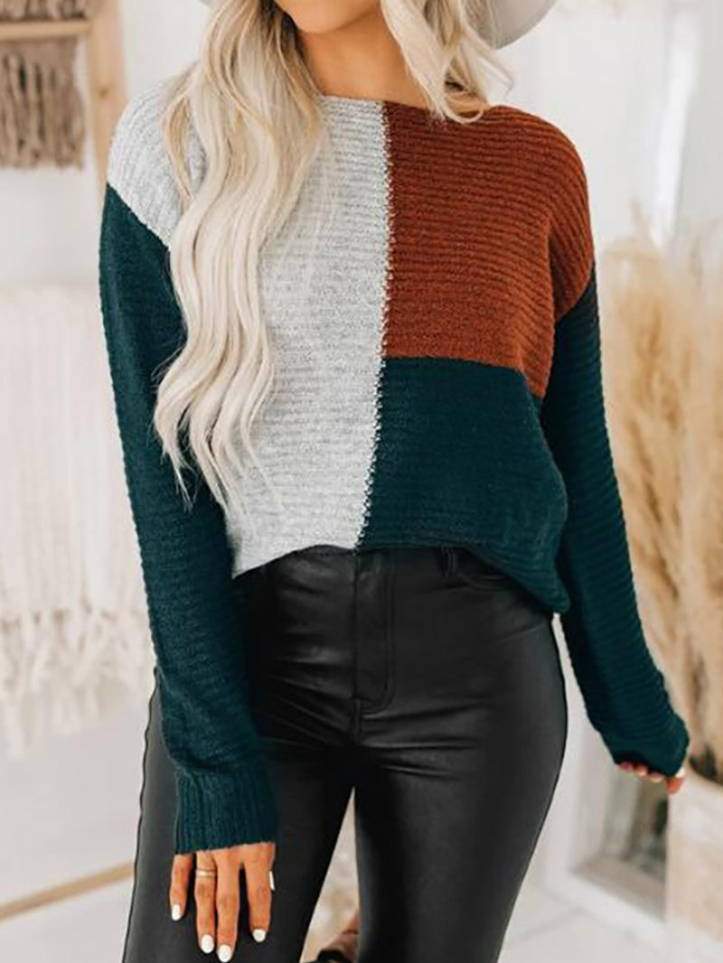 Casual Loose Color Blocked Pullover Sweater
