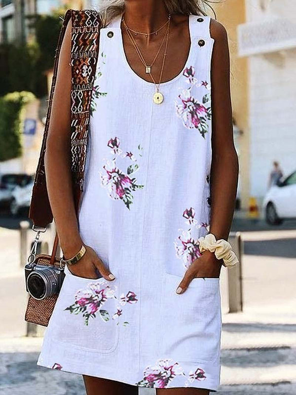 Floral Print Sleeveless Overall Mini Dress