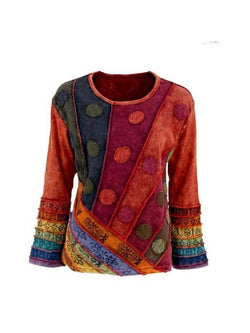 Large Size Fashion Multicolor Flared Sleeve Top