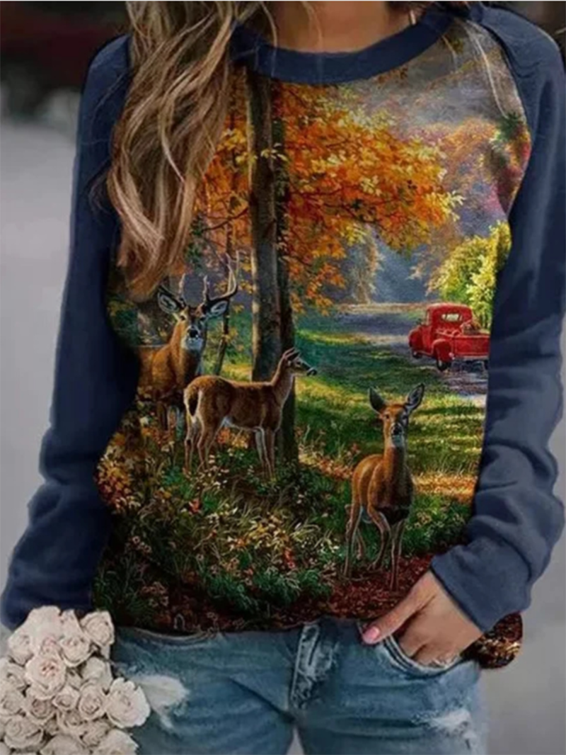 Long Sleeve Print Casual Sweatshirt