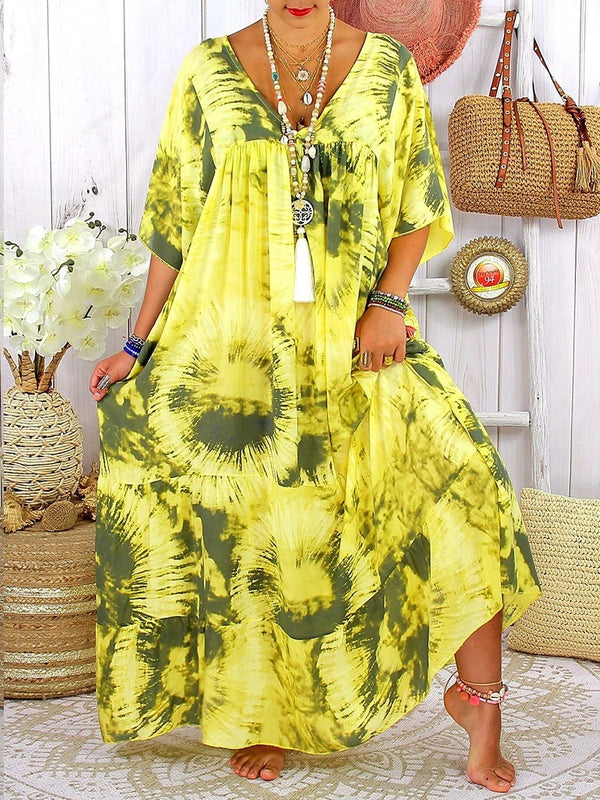 Vacation V-neck Gradient Color Print Mid-sleeve Dress