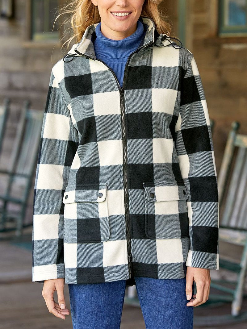 Women's Warm Casual Black and White Check Pattern Hooded Coat