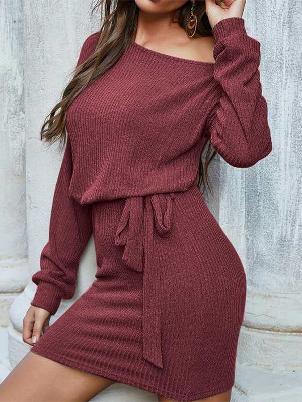 Pure Color Casual Sweater Dress