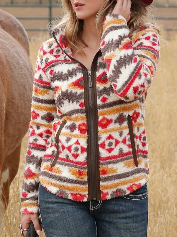 Aztec Printed Polyester Fleece Zip Jacket