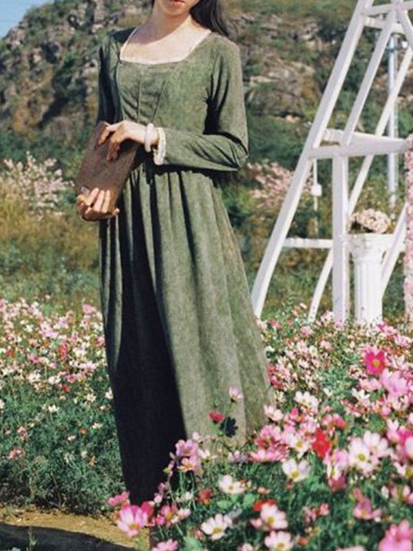 Pastoral Retro Long Sleeve Dress