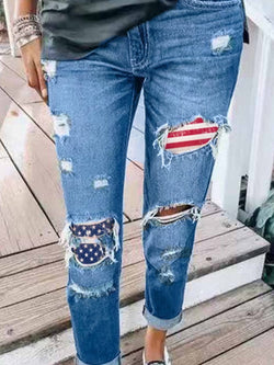 Women's jeans with flag print and holes