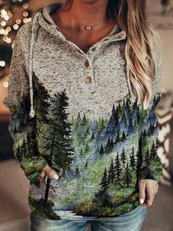 Fashion  Warm    Print Loose Hooded Long-sleeved Sweater