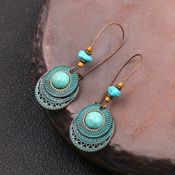 Long Round Turquoise Large Earrings
