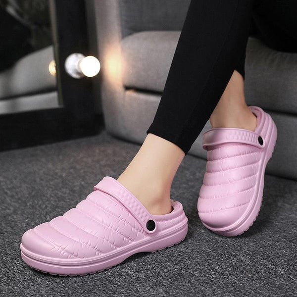 Waterproof Striped Casual Warm and Velvet Cotton Slippers