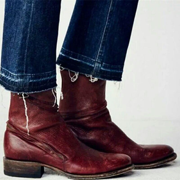Middle Zipper Western Boots