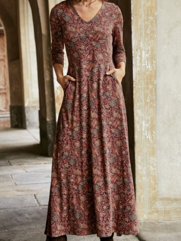 V-neck Long Sleeve Padded Printed A-line Long Dress