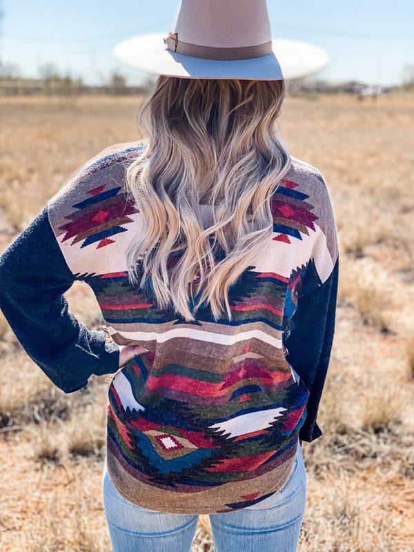 Women's Western Geometric Color Block Print Top