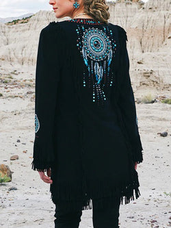 Weaving Mesh Printed Fringe Deerskin Long Sleeve Jacket