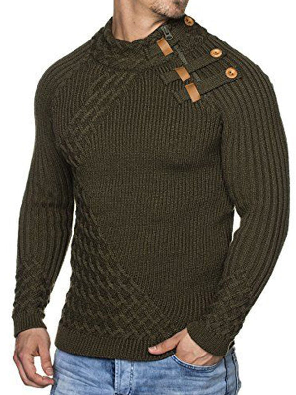 Solid Color Button Stand Collar Sweater