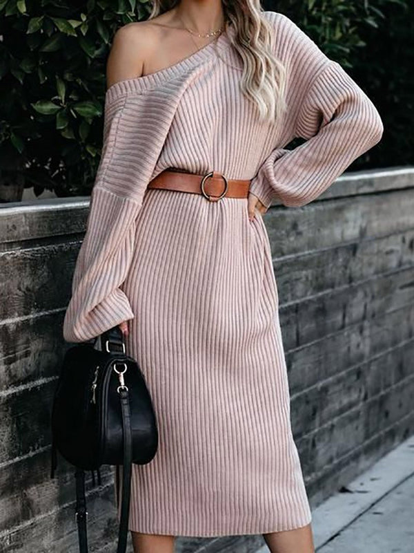 Women's Casual Round Neck Long Winter Dress