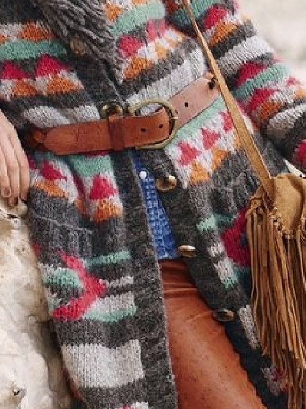 Fringed Retro Long Sleeve Sweater Coat