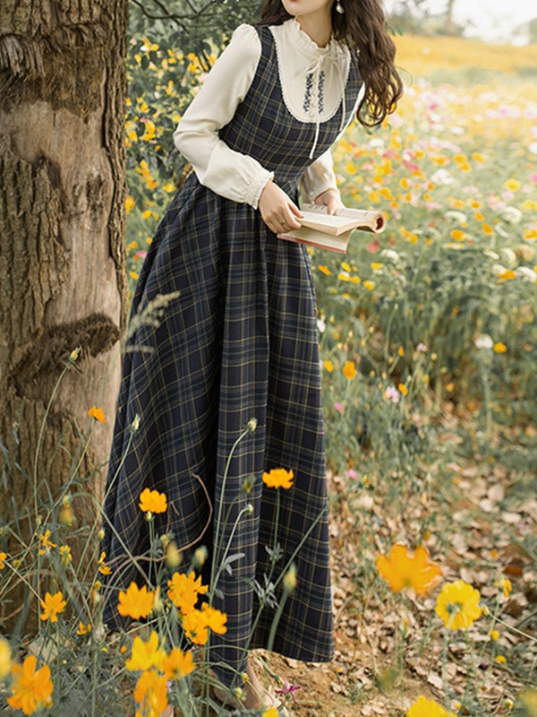 Sleeveless Plaid Pastoral Dress